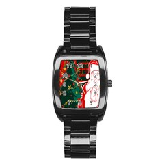 Santa Clause Xmas Stainless Steel Barrel Watch