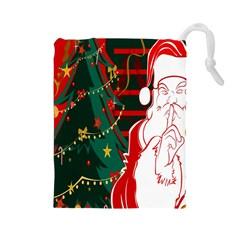 Santa Clause Xmas Drawstring Pouches (Large)