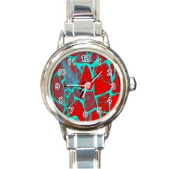 Red Marble Background Round Italian Charm Watch