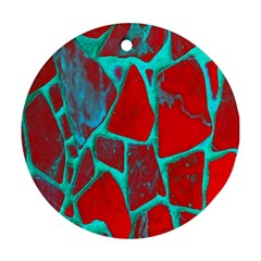 Red Marble Background Ornament (round)
