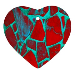 Red Marble Background Ornament (Heart)