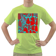 Red Marble Background Green T Shirt
