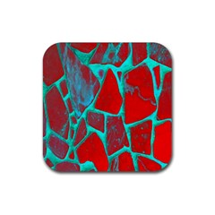 Red Marble Background Rubber Coaster (Square)