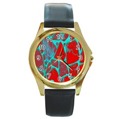 Red Marble Background Round Gold Metal Watch
