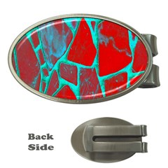 Red Marble Background Money Clips (Oval)