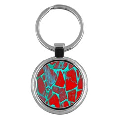 Red Marble Background Key Chains (Round)