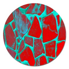 Red Marble Background Magnet 5  (round)