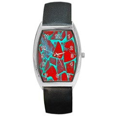 Red Marble Background Barrel Style Metal Watch