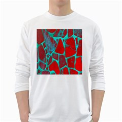 Red Marble Background White Long Sleeve T Shirts