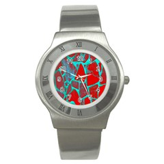 Red Marble Background Stainless Steel Watch