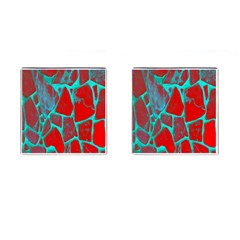 Red Marble Background Cufflinks (Square)