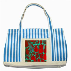 Red Marble Background Striped Blue Tote Bag