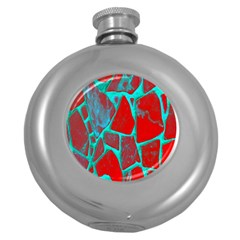 Red Marble Background Round Hip Flask (5 oz)
