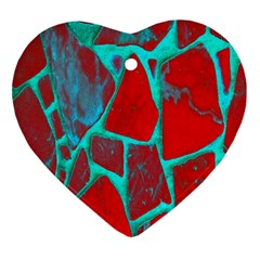 Red Marble Background Heart Ornament (Two Sides)
