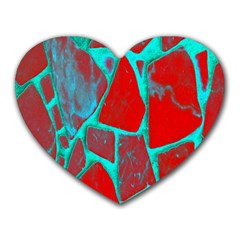 Red Marble Background Heart Mousepads