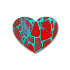 Red Marble Background Heart Coaster (4 Pack)