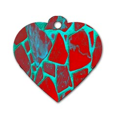 Red Marble Background Dog Tag Heart (Two Sides)