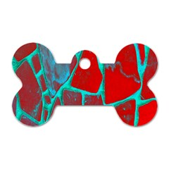 Red Marble Background Dog Tag Bone (One Side)