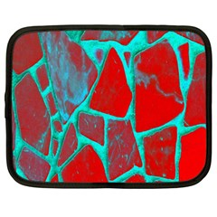 Red Marble Background Netbook Case (Large)