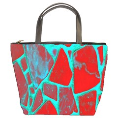Red Marble Background Bucket Bags