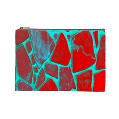 Red Marble Background Cosmetic Bag (large)