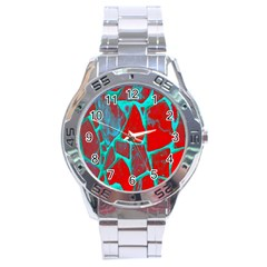 Red Marble Background Stainless Steel Analogue Watch
