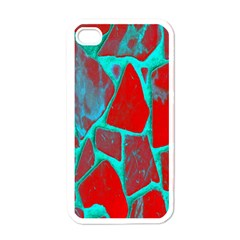Red Marble Background Apple iPhone 4 Case (White)