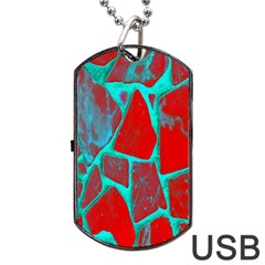 Red Marble Background Dog Tag USB Flash (One Side)