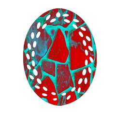 Red Marble Background Oval Filigree Ornament (two Sides)