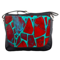 Red Marble Background Messenger Bags