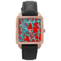 Red Marble Background Rose Gold Leather Watch
