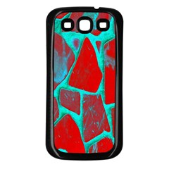 Red Marble Background Samsung Galaxy S3 Back Case (Black)