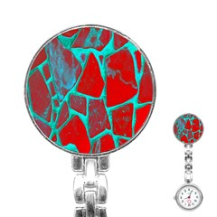 Red Marble Background Stainless Steel Nurses Watch