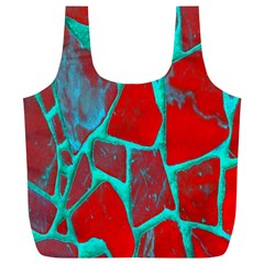 Red Marble Background Full Print Recycle Bags (l)