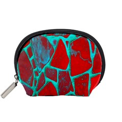 Red Marble Background Accessory Pouches (small)