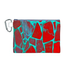 Red Marble Background Canvas Cosmetic Bag (m)
