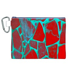 Red Marble Background Canvas Cosmetic Bag (XL)