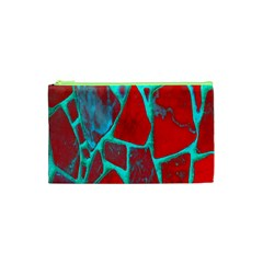 Red Marble Background Cosmetic Bag (XS)