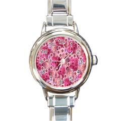 Roses Flowers Rose Blooms Nature Round Italian Charm Watch