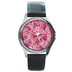 Roses Flowers Rose Blooms Nature Round Metal Watch