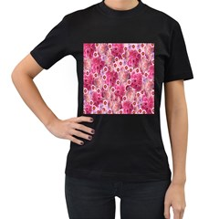 Roses Flowers Rose Blooms Nature Women s T-Shirt (Black) (Two Sided)