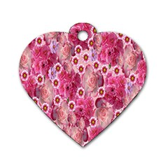 Roses Flowers Rose Blooms Nature Dog Tag Heart (one Side)