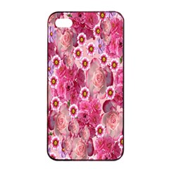 Roses Flowers Rose Blooms Nature Apple iPhone 4/4s Seamless Case (Black)