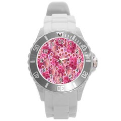 Roses Flowers Rose Blooms Nature Round Plastic Sport Watch (L)