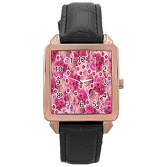Roses Flowers Rose Blooms Nature Rose Gold Leather Watch
