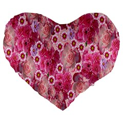 Roses Flowers Rose Blooms Nature Large 19  Premium Flano Heart Shape Cushions
