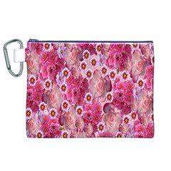 Roses Flowers Rose Blooms Nature Canvas Cosmetic Bag (XL)