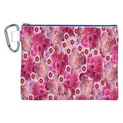 Roses Flowers Rose Blooms Nature Canvas Cosmetic Bag (xxl)
