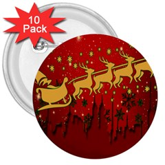 Santa Christmas Claus Winter 3  Buttons (10 Pack)