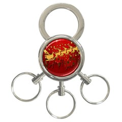 Santa Christmas Claus Winter 3 Ring Key Chains